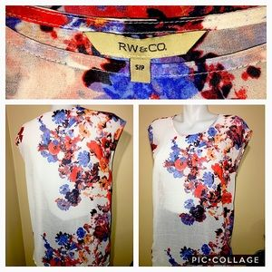2/$30 RW&CO WHITE BRIGHT SHEER FLORAL PRINT FLOWY BLOUSE SIZE S